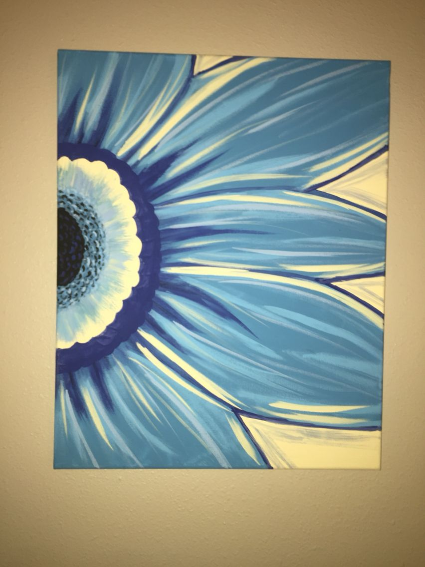 Gerber daisy canvas painting paint and sip wine and Diy canvas painting designs