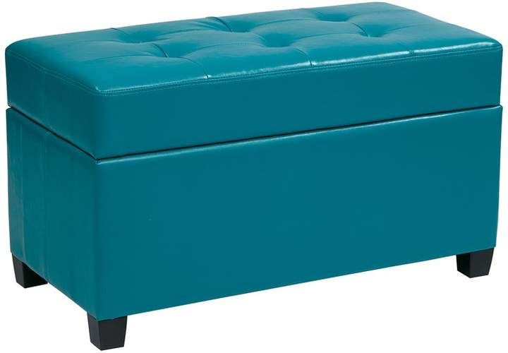 Osp Home Furnishings Casual Purple Vinyl Storage Ottoman Met804v Pb512 In 2020 With Images Storage Ottoman