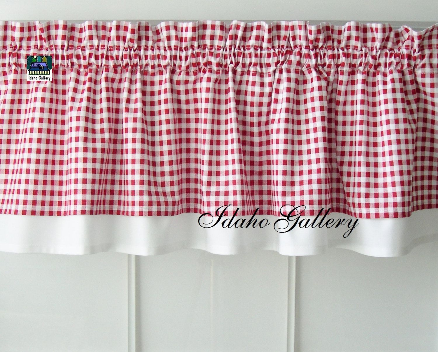 Red kitchen curtains and valances - Curtain Red White Check Gingham Double Layered Kitchen Curtain Valance