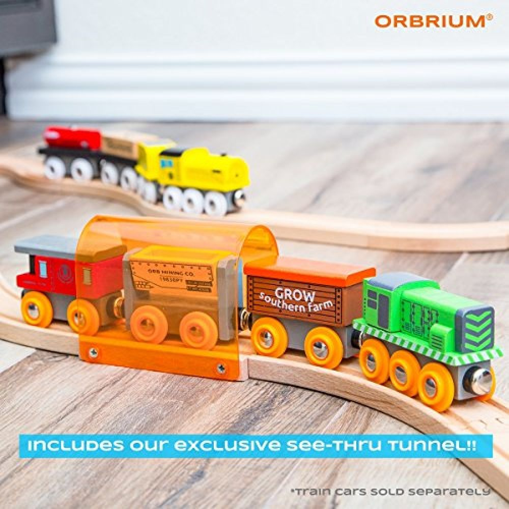56 Piece Wooden Train Track Expansion Pack With Tunnel Compatible