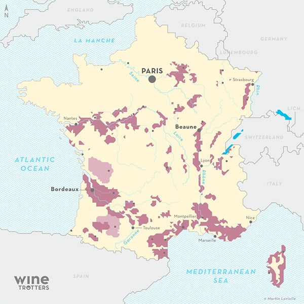 France wine map carte vin viticole France from Wine Trotters