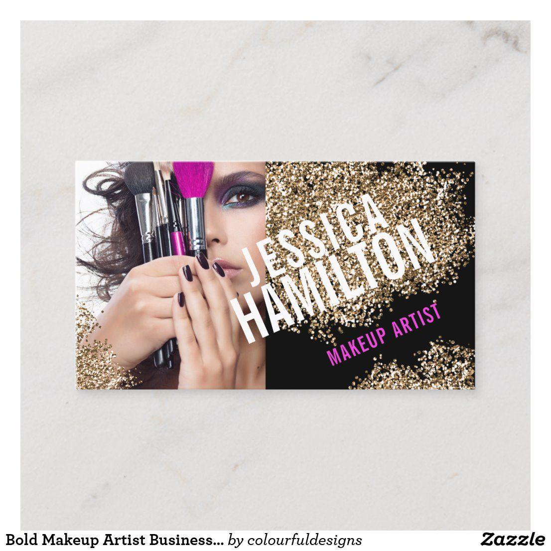 Bold makeup artist business card template in 2020 makeup