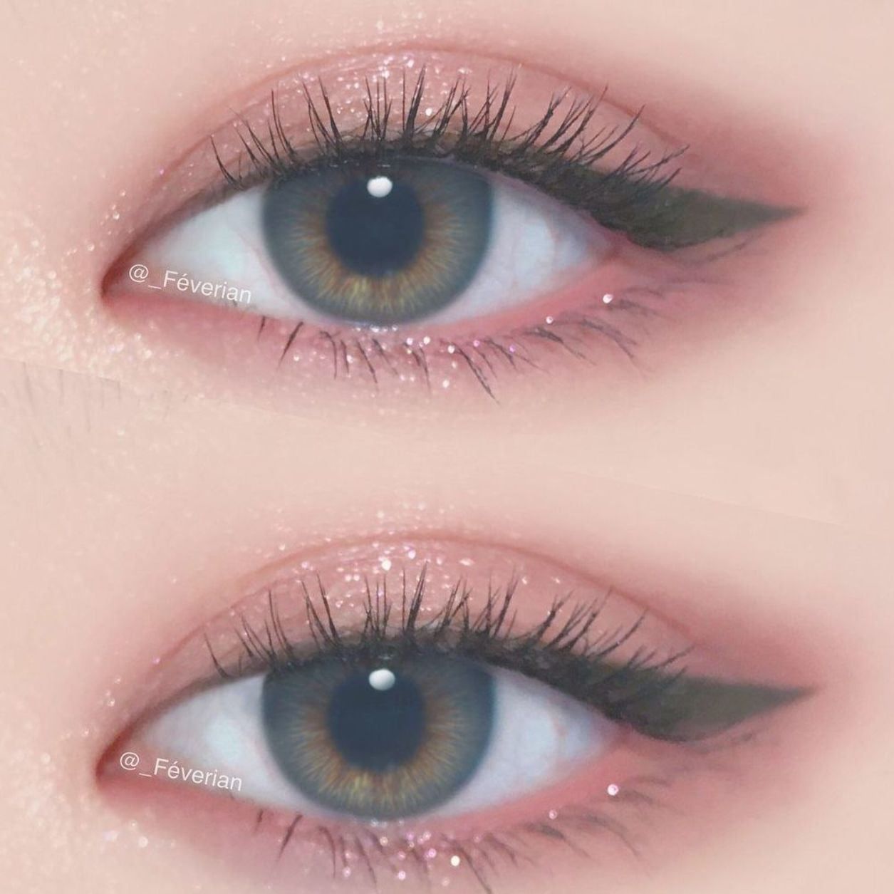 shimmery pink eye makeup w/ winged liner @_feverian