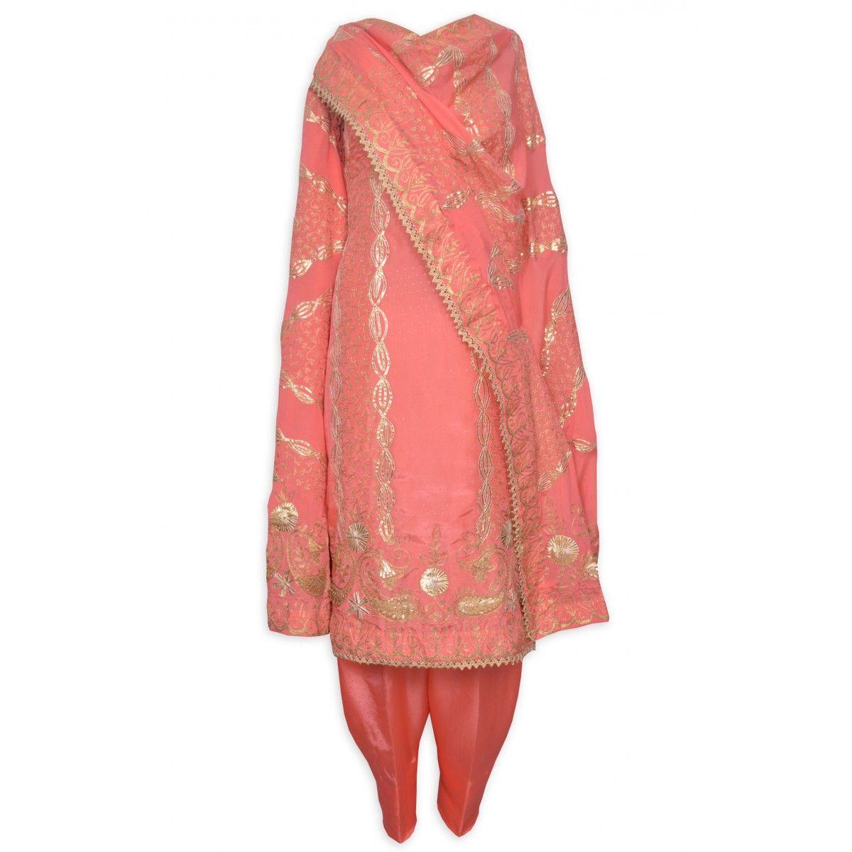 Appealing gajari unstitched suit adorn in gota and zari workmohanus