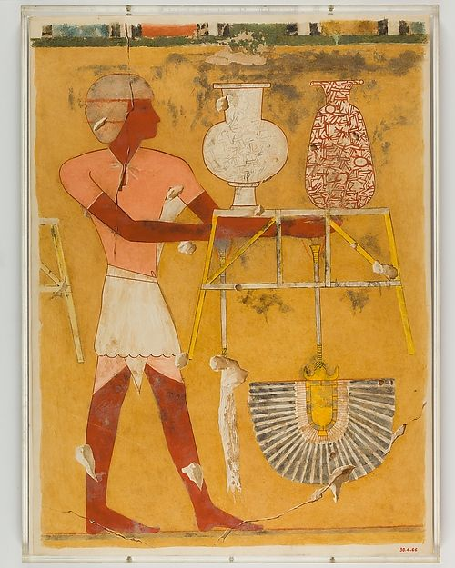 Man Bringing New Year's Gifts, Tomb of Qenamun Artist: Hugh R. Hopgood Period: New Kingdom Dynasty: Dynasty 18 Reign: reign of Amenhotep II Date: ca. 1427–1400 B.C. Geography: Original from Egypt, Upper Egypt; Thebes, Sheikh Abd el-Qurna, TT 93 Medium: Tempera on paper Dimensions: facsimile: h. 53 cm ( 20 7/8 in); w. 39 cm ( 15 3/8 in) scale 2:9 framed: h. 56.5 cm (22 1/4 in); w. 42.5 cm (16 3/4 in) Credit Line: Rogers Fund, 1930 Accession Number: 30.4.66