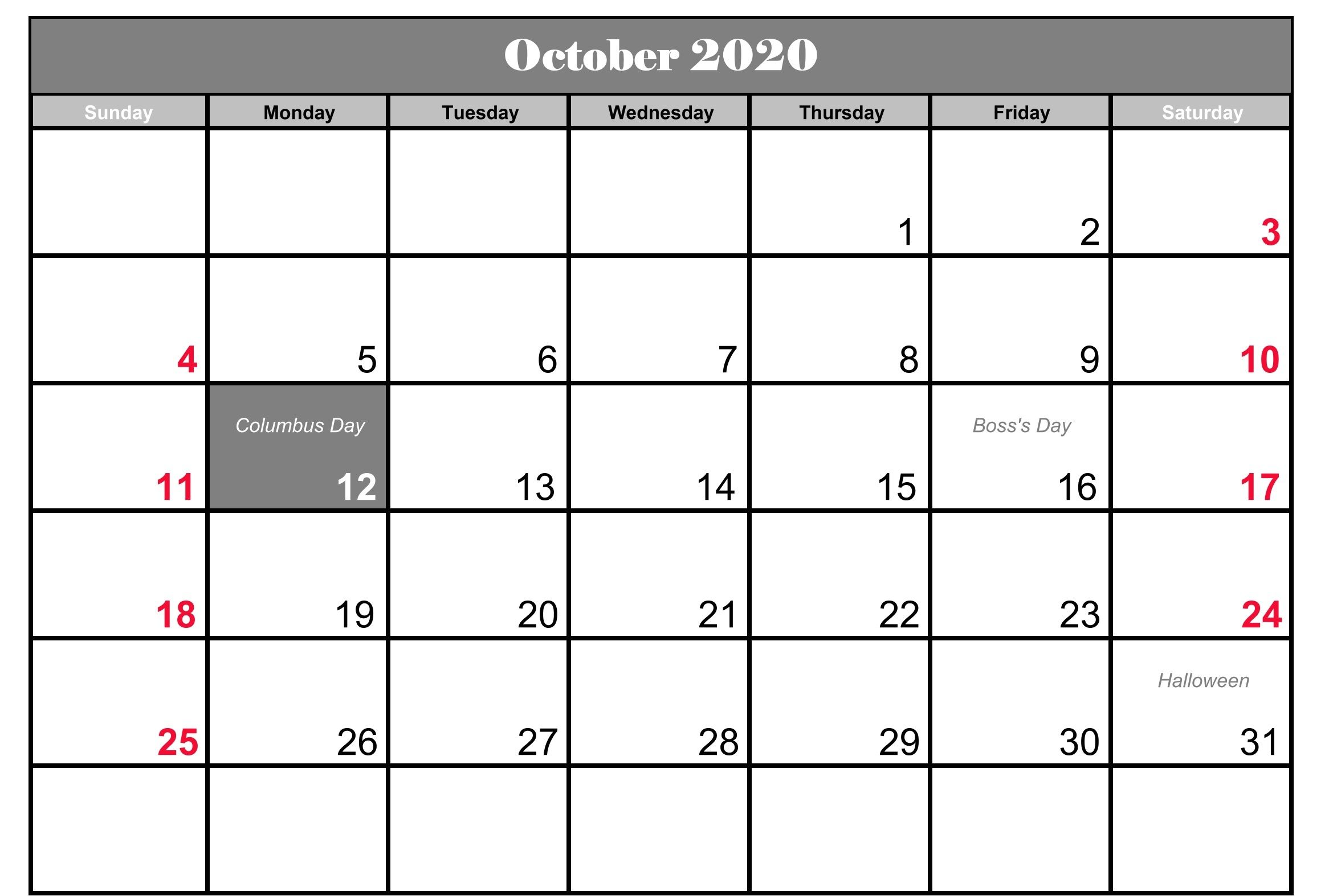 October 2020 Holidays Calendar Template Calendar