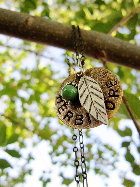 Herbivore vegan leaf green turquoise vegetarian necklace jewelry Avery Rayne Etsy