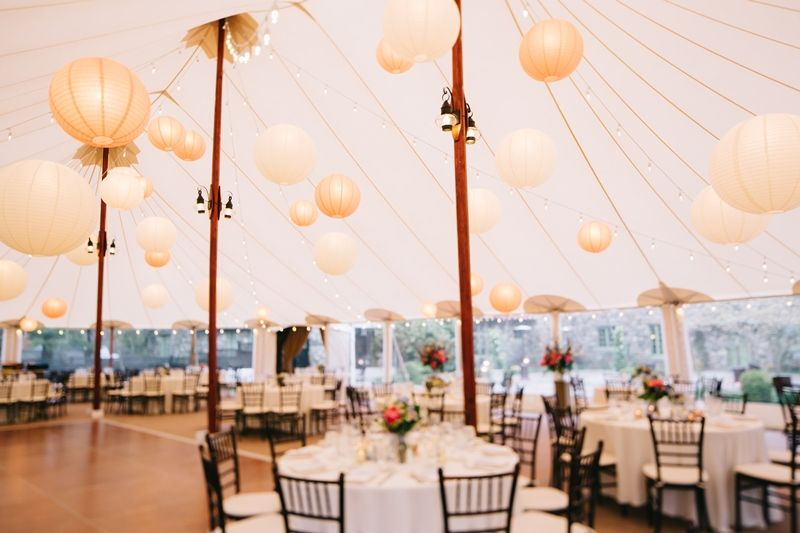 Beautiful Sperry Tent Wedding Reception With Chinese Lanterns And