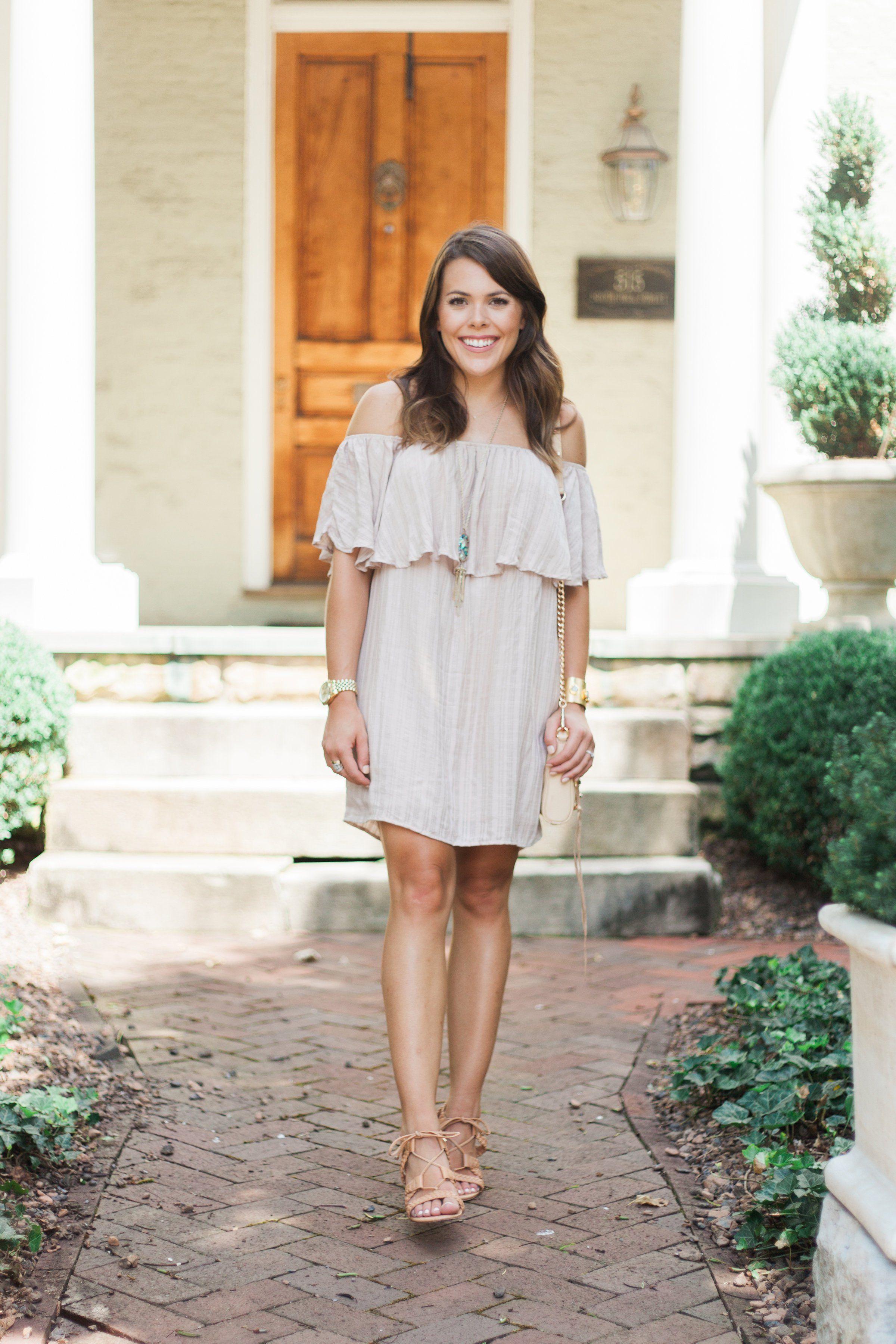fe468c6c226 Summer Style via Glitter   Gingham    Off The Shoulder Dress