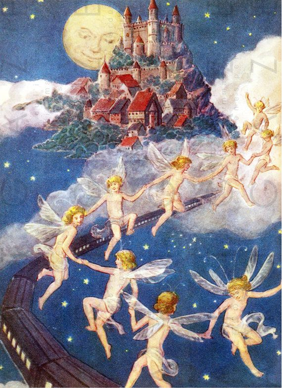 A CASTLE In The Sky & Full MOON! Vintage Fairy Tal