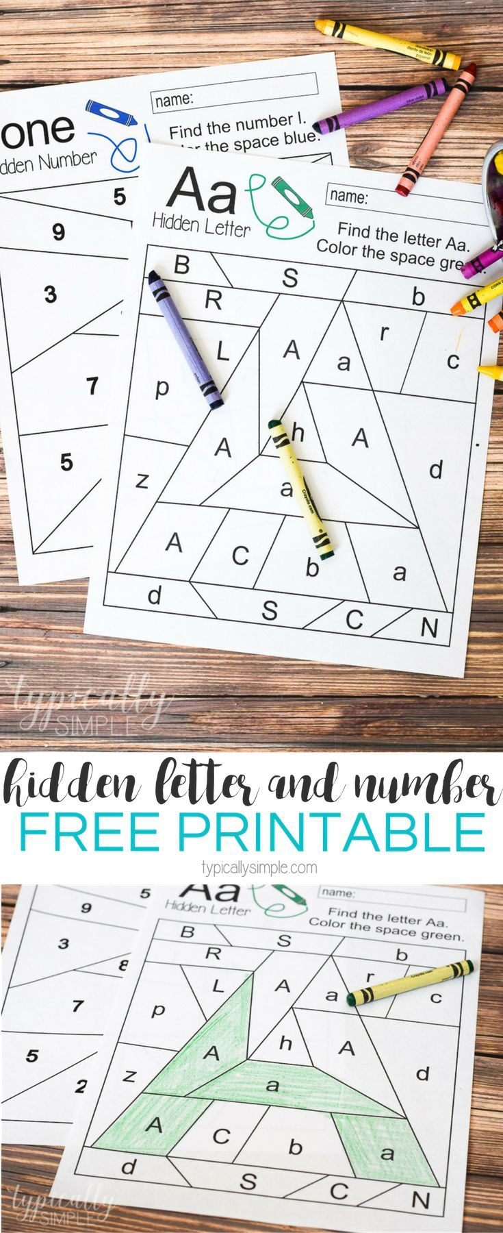 Free printable worksheets to practice letter and number recognition. Grab a  few crayons and start