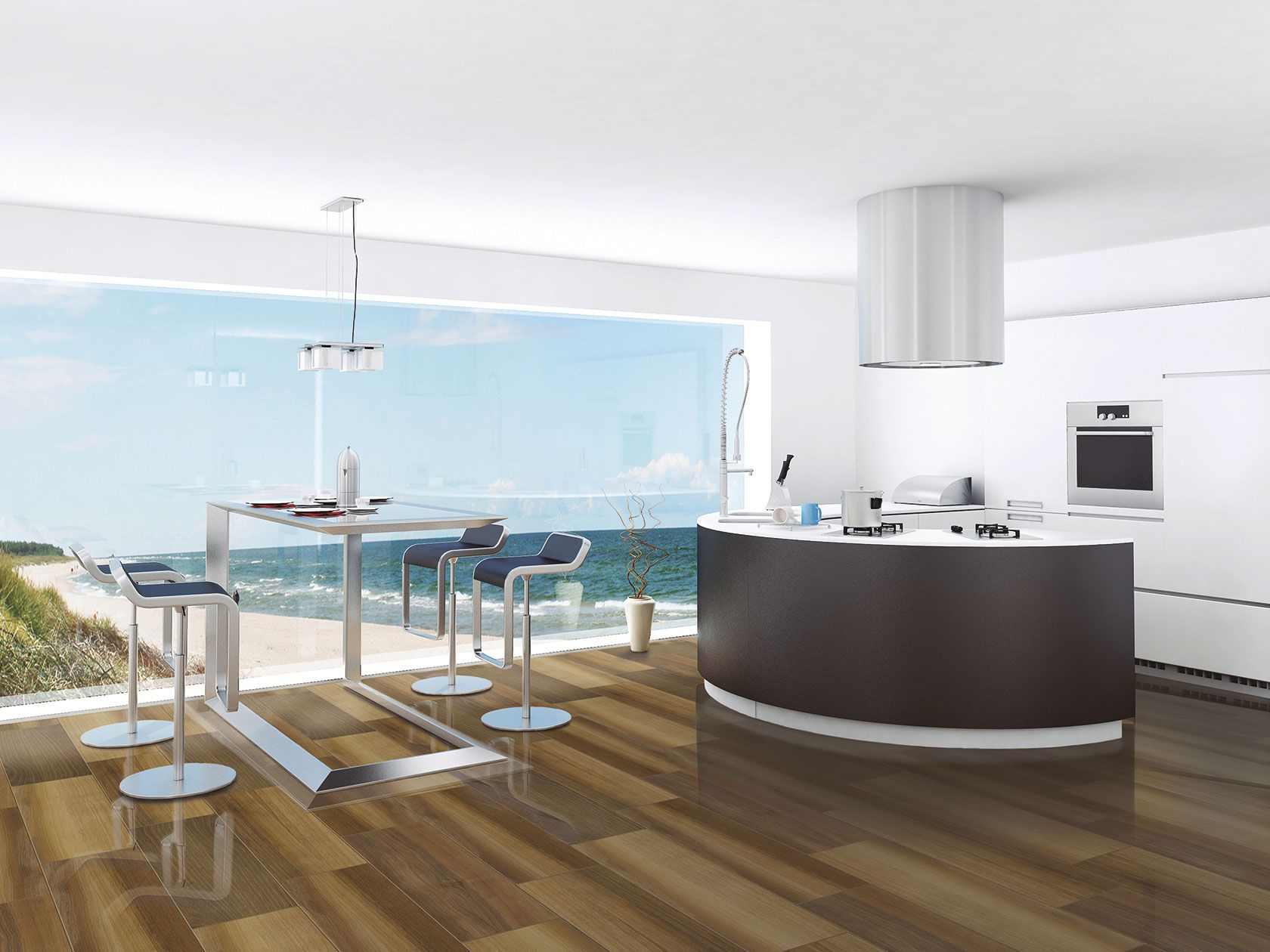 A Beach View From The Comfort Of Your Kitchen Sleek,
