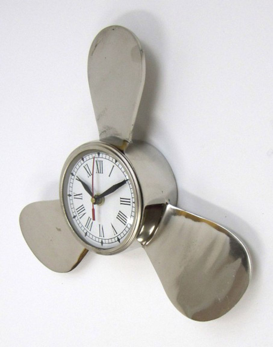 "11.5"" Dia.ALUMINUM PROPELLER CLOCK WITH CHROME FINISH"