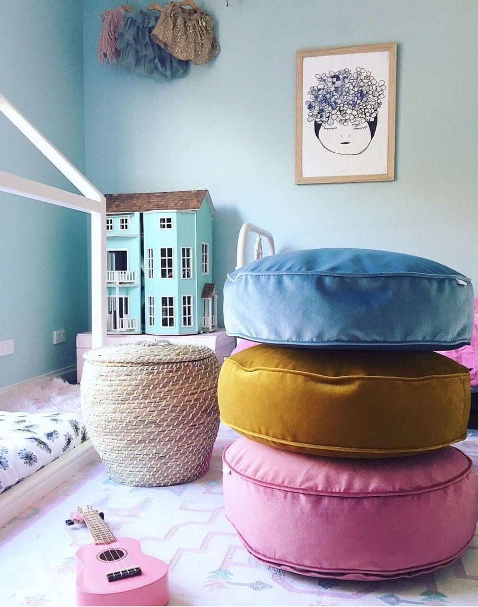+Stunning soft luxury Round boxed floor cushion fully
