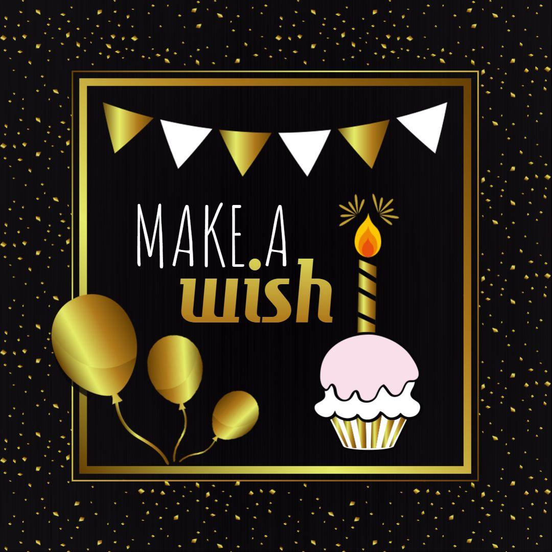 Happy Birthday Wish Message Square Image Template Gold And Black Birthday Poster Birthday Wishes Birthday Invitation Templates