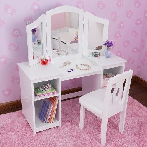 Kidkraft Deluxe Vanity Table With Chair White Kidkraft Girls