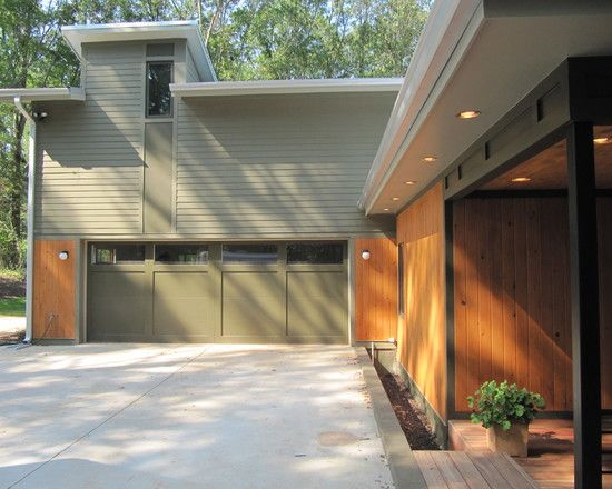 Garage/Carport Design Exciting Contemporary House Exterior With Green Olive Garage Door Colors Also & Garage/Carport Design Exciting Contemporary House Exterior With ... Pezcame.Com