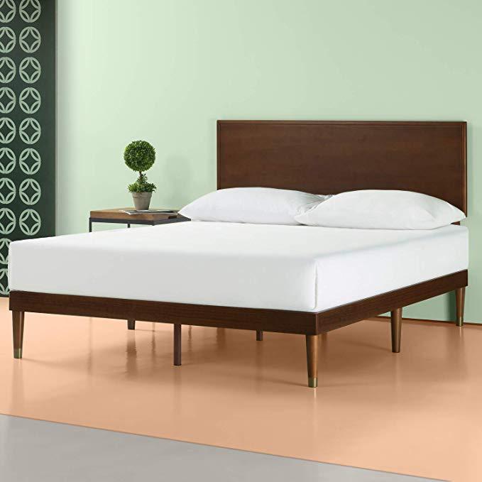 Amazon Com Zinus Deluxe Mid Century Wood Platform Bed With Adjustable Height Headboard No Box Spring Wood