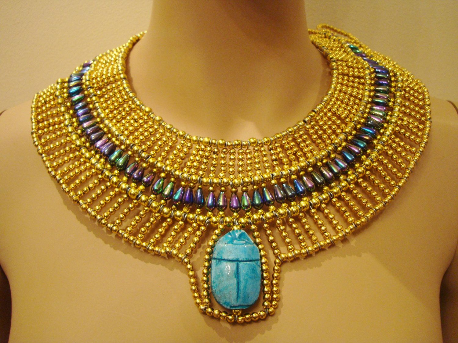 Ancient Egypt Jewelry | Unique Egyptian Hand Made Gold & vivid Beaded Queen  Cleopatra Necklace .