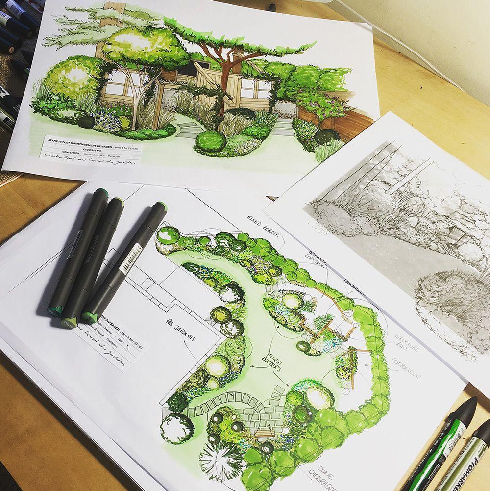 Perspectives Et Plans De Lamenagement Paysager Dun Jardin A Chemille 49 En 2020 Plan De Dessin D Architecture Dessin Jardin Dessin Perspective