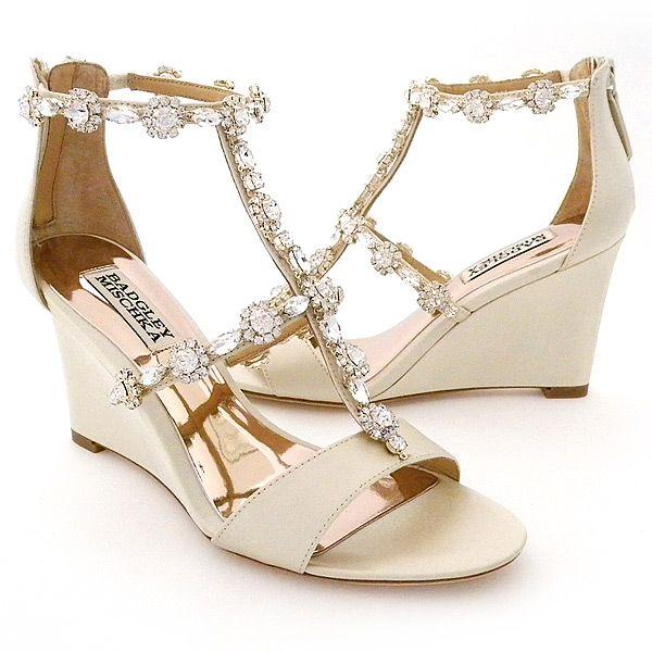 Delightful Badgley Mischka Tabby, Beaded Wedge, Ivory 6M. Wedge Wedding ShoesBridal ...