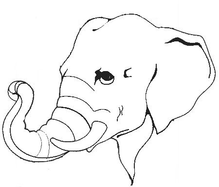 450x384 Outline Of Elephant Face Elephant Coloring Page Super Coloring Pages Elephant Clip Art