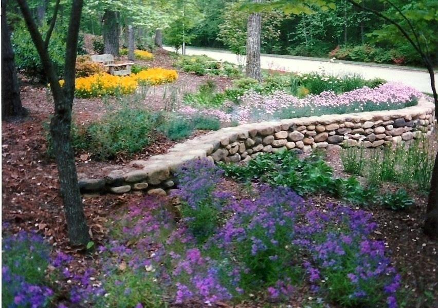 Image result for river rock retaining wall wall planter