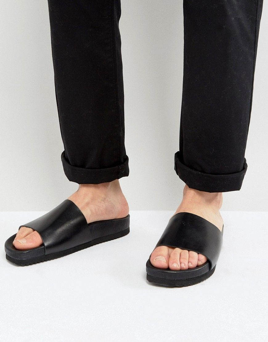 8b9bb4c6c620 Selected Homme Austin Leather Sliders - Black  Sandals by Selected Homme