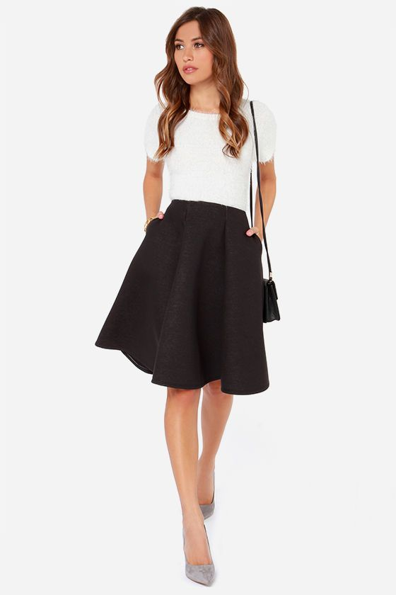 1e31a1fcc0c black midi skirt + white top