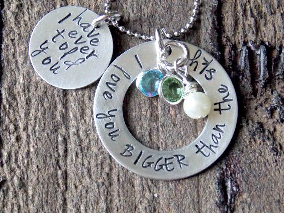 Personalized Hand Stamped Necklace-Mothers by SweetPeasStamping