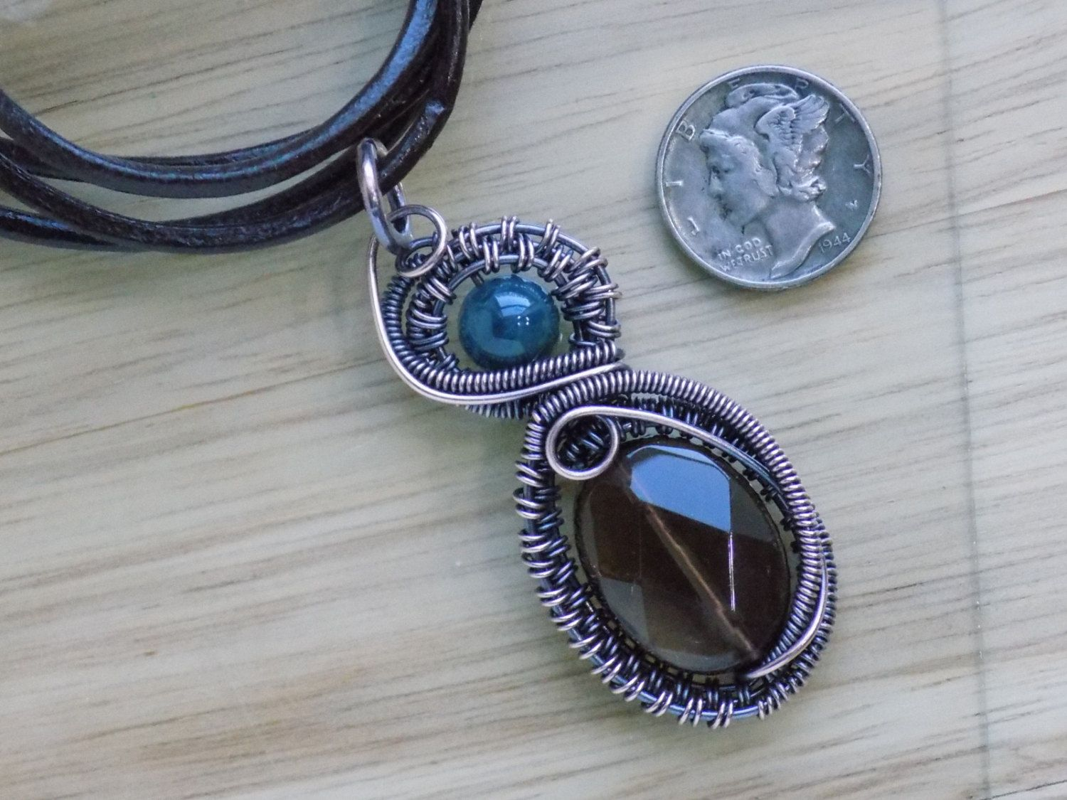 Faceted Smoky Quartz Oval Teal Apatite Oxidized Copper Wire Wrapped ...