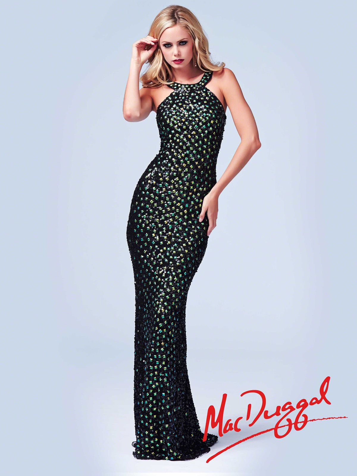 Party the night away in this collared formal gown fully beaded in