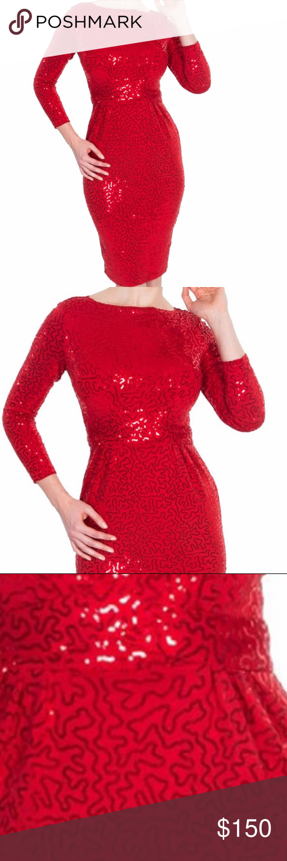Tatyana dazzle red sequin pencil dress long sleeve boutique sequins