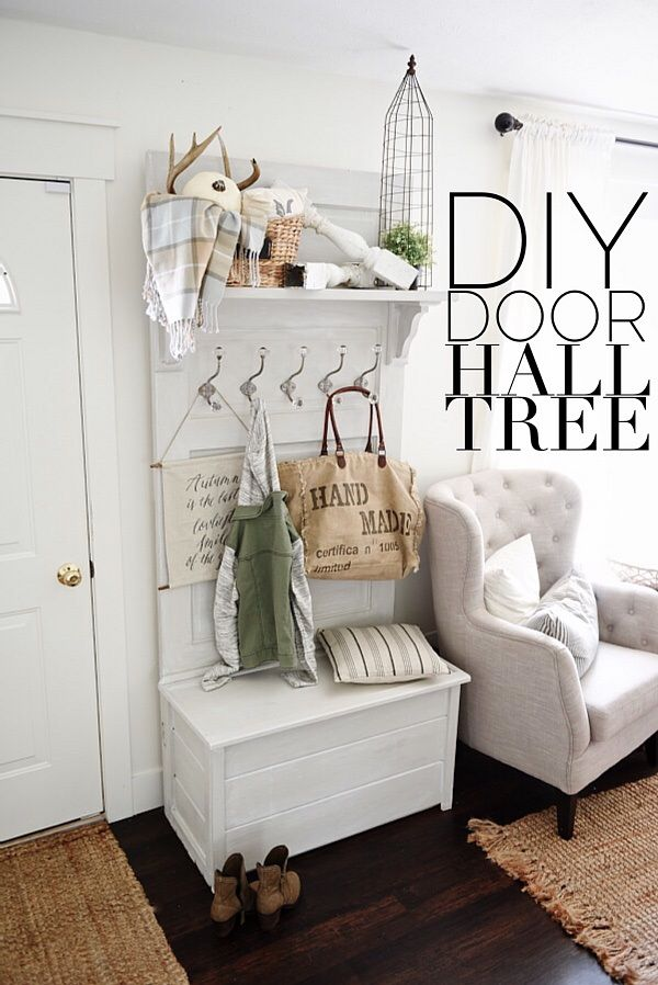 Diy Hall Tree Made From An Old Door Such A Simple Build Great For Small Entryway Function And Beauty