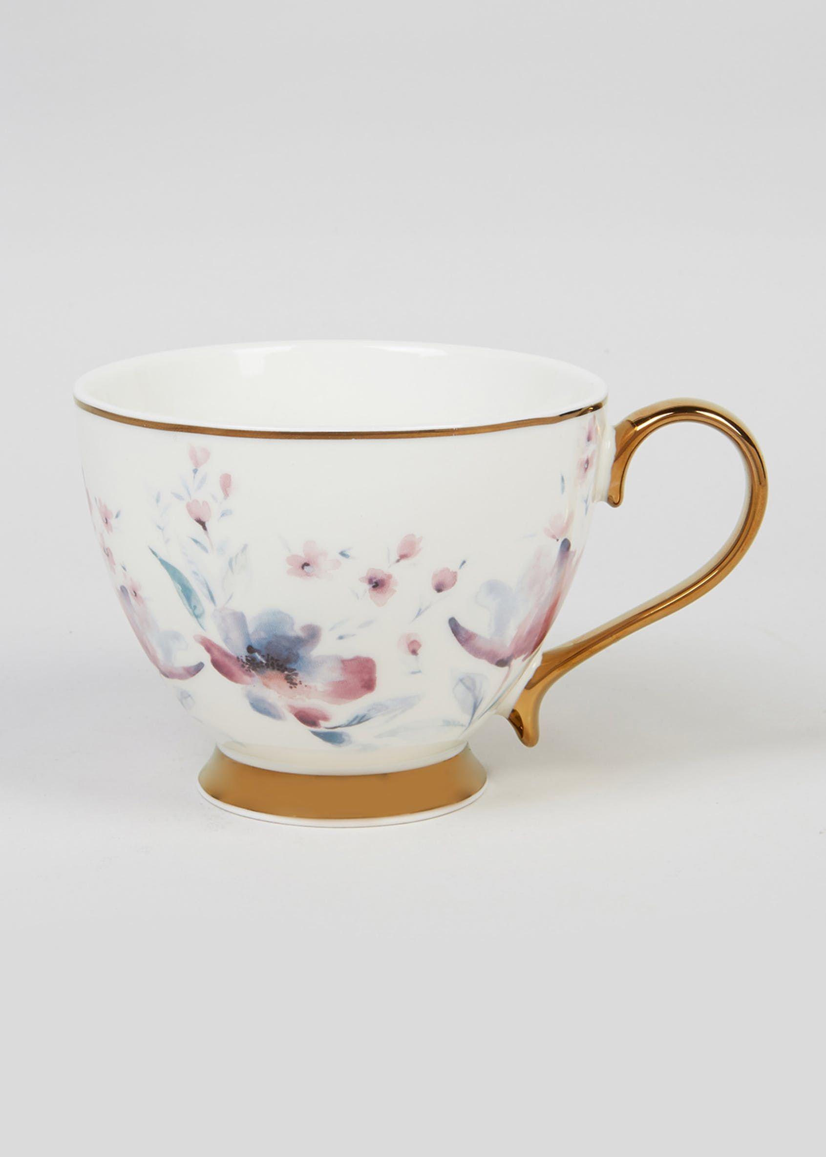 Romantic Rose Mug Bone China Flowers Vtg Chintz Hot Drinks Coffee Tea Cup