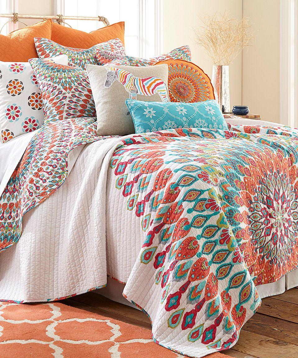 Take A Look At This White U0026 Orange Mandala Quilt Set Today!