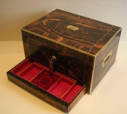 Grandest Antique English Brass Bound Zebrano Wood Jewelry Box c1840