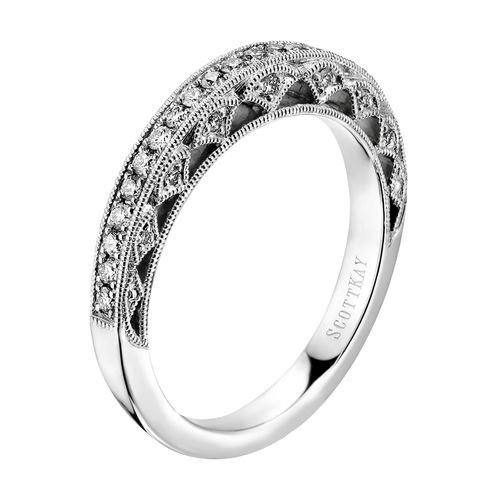 14k White Gold Diamond Wedding Band From The Scott Kay Heaven S Gate Collection Rogers J Gold Diamond Wedding Band Womens Wedding Bands Shop Engagement Rings