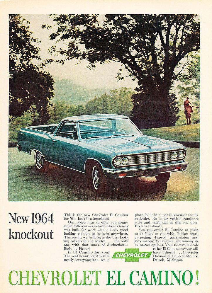 1963 Chevy El Camino - color - Original Car Advertisement Print Ad