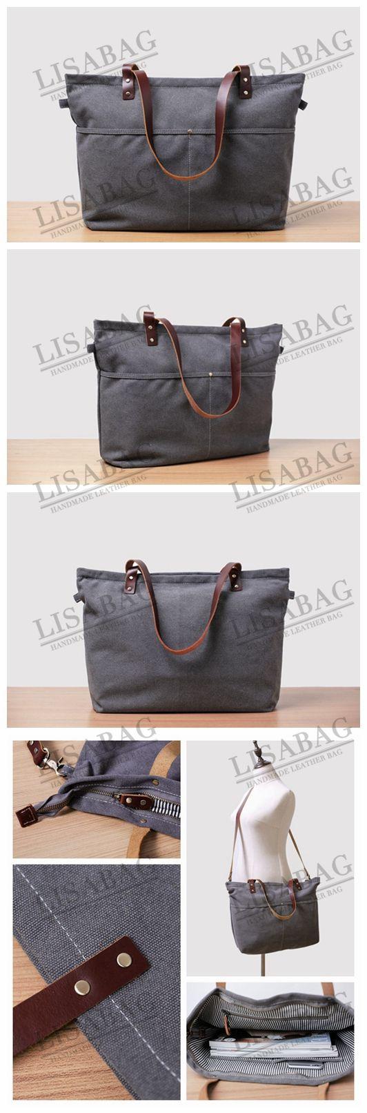 cb96e4a49a Handmade Gray Canvas Tote Bag Messenger Bag Shopper Bag School Bag Handbag  14022 - Gray