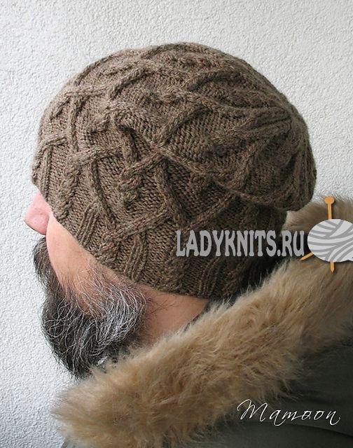 вязаная спицами мужская шапка агатис Knit Crochet Hats
