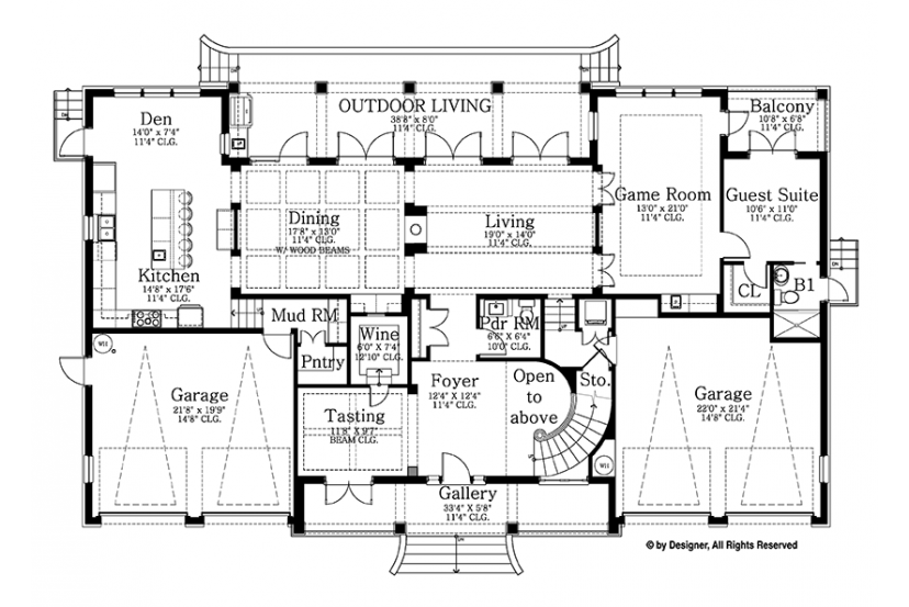 Colonial Style House Plan 6 Beds 5 5 Baths 5076 Sq Ft Plan 1058 82 Floor Plan Design Floor Plans House Plans
