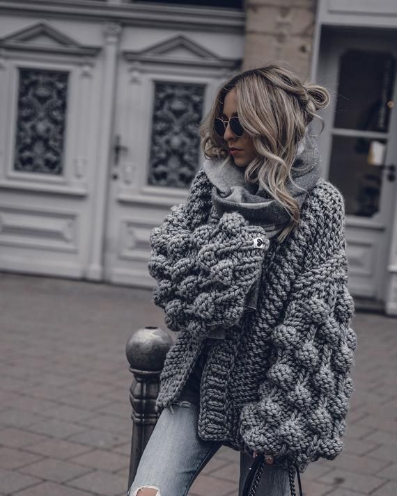 Gray kimono cardigan Bubble sweater Gray chunky cardigan Bobble sweater Gray bomber jacket crochet cardigan Gray kimono jacket
