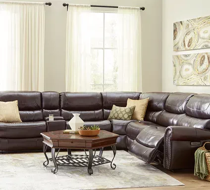 Venezio Brown Leather 6 Pc Reclining Sectional Reclining Sectional Sectional Rooms To Go