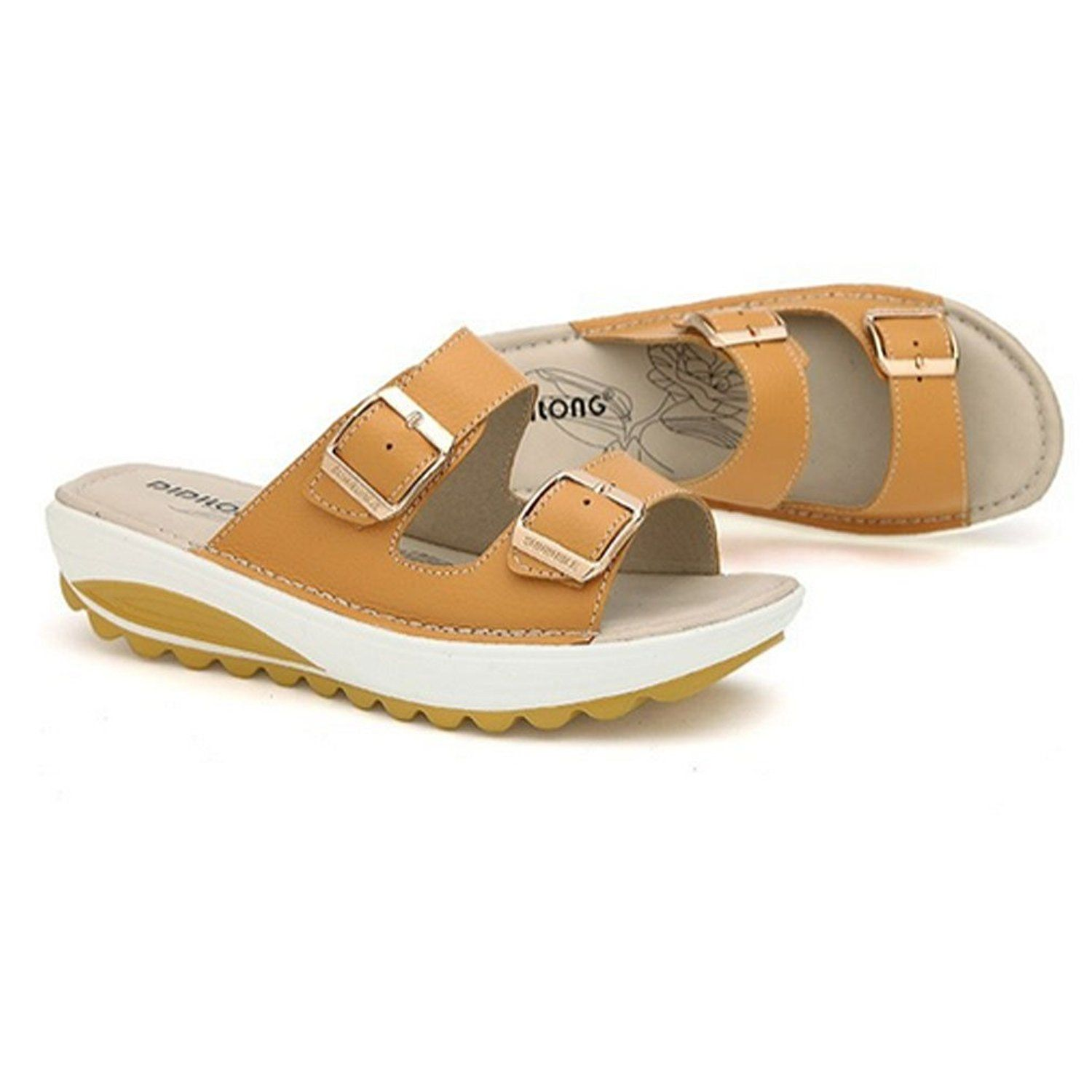 women's open beach sandals size 5 YELLOW * You can find out more details at the link of the image.