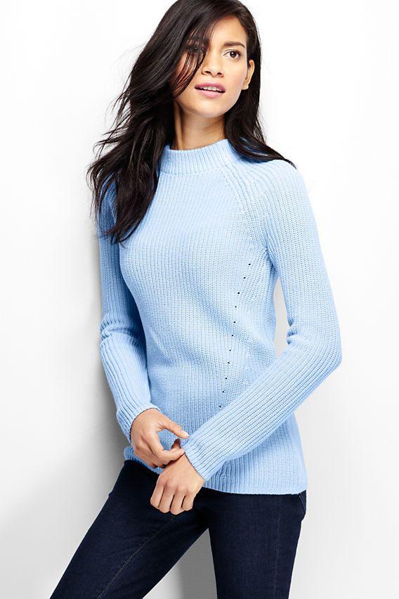 Women's Cotton Shaker Funnelneck Sweater from Lands' End