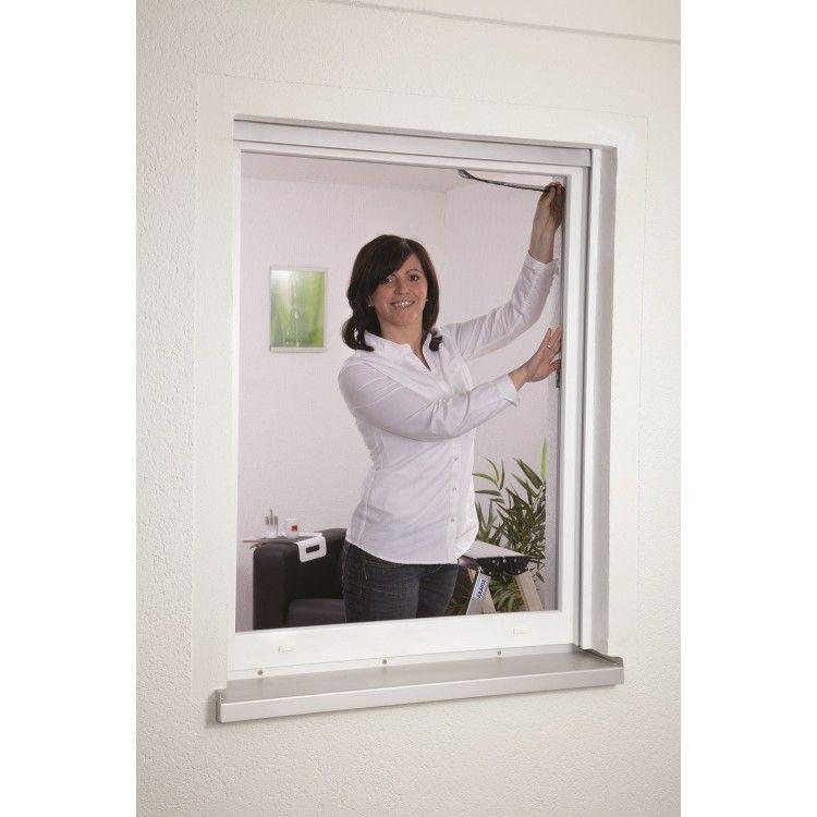 Moustiquaire fenetre fixation velcro L130 x H150 cm Blanc