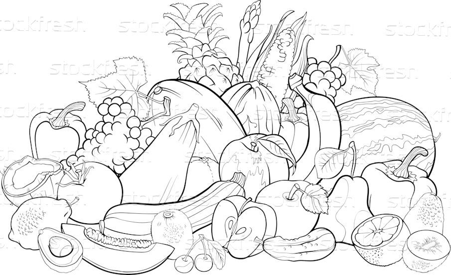 Fruchte Gemuse Buch Schwarz Weiss Karikatur Vektor Grafiken C Igor Zakowski Izakowski 3018708 Illustration Grafiken Schwarz Weiss