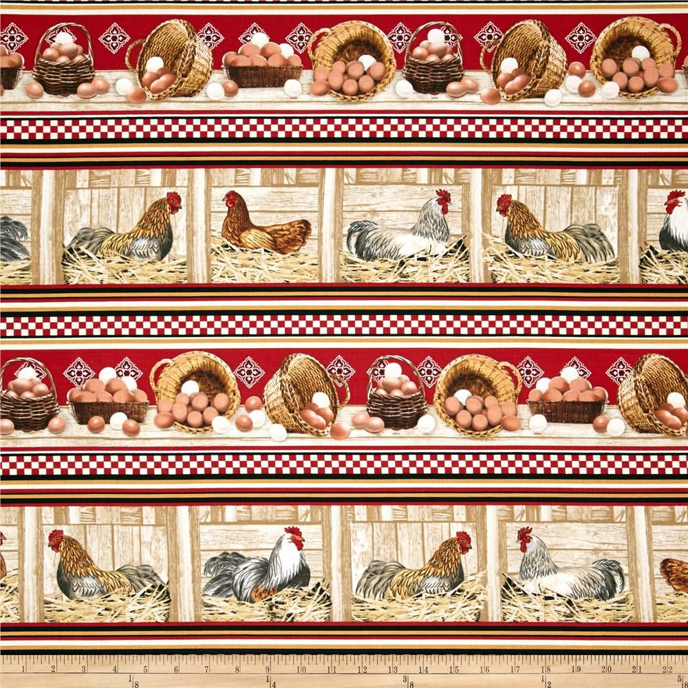 Timeless Treasures Rooster Border Red