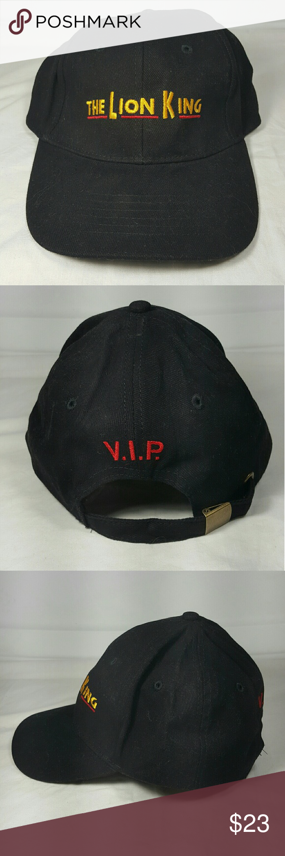 The Lion King Vip Baseball Cap Dad Hat Adjustable Excellent Condition Worn Once The Lion King Vip Black Base Dad Hats Black Baseball Cap Disney Accessories